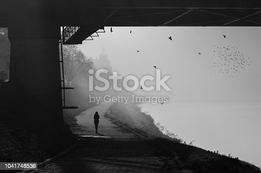 Silhouette of the young woman walking beside the river on a misty autumn day.