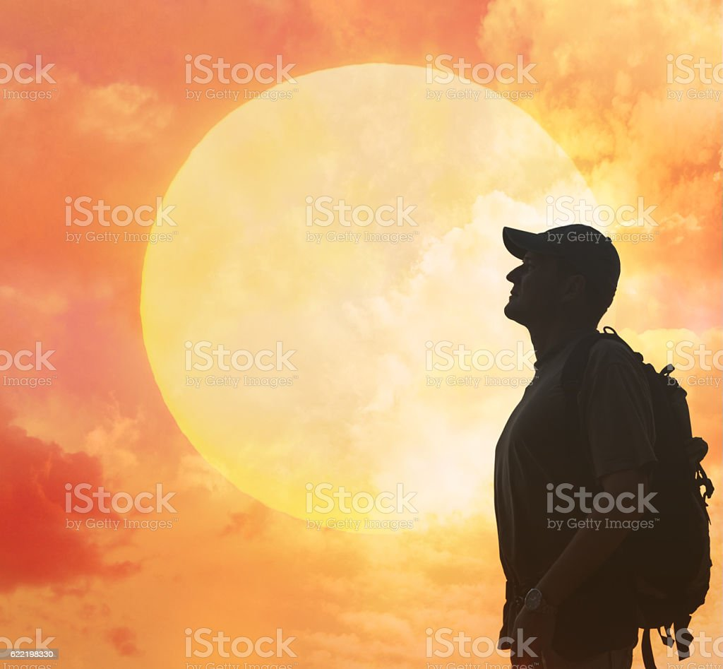Silhouette of tourist and a beautiful landscape stock photo