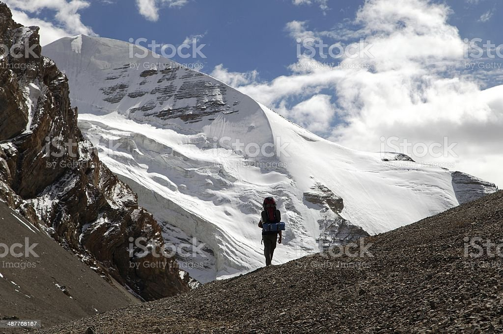 Silhouette of tourist on mountain stock photo