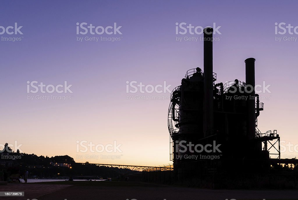 Silhouette of towers at Gasworks Park during nighttime in Seatte royalty-free stock photo