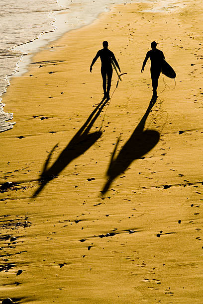 Silhouette of two surfers walking on the beach. stock photo