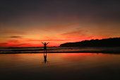 Silhouette of group of cheerful young people having fun on the beach. Jumping and dancing. One man holding a guitar. Other touching the sun.
