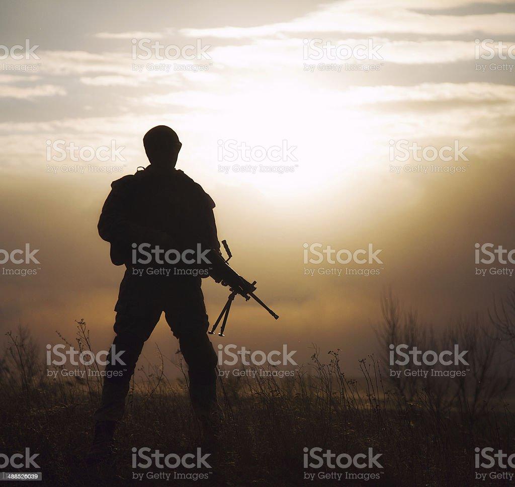 Silhouette of US marine royalty-free stock photo
