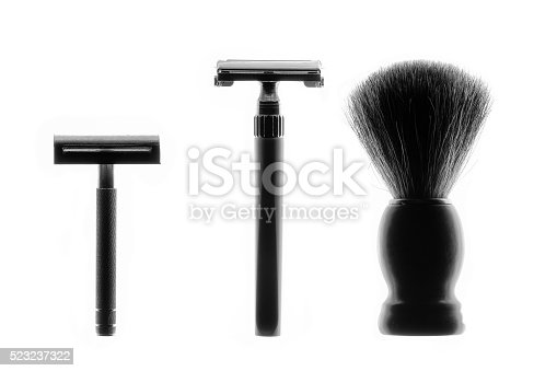 483333652 istock photo Silhouette of vintage Shaving Equipment on white Background 523237322