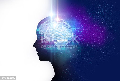 silhouette of virtual human and nebula cosmos 3d illustration  , represent scientific concept  and brain creativity.