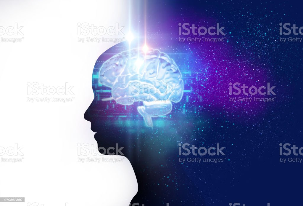 silhouette of virtual human and nebula cosmos  3d illustration stock photo