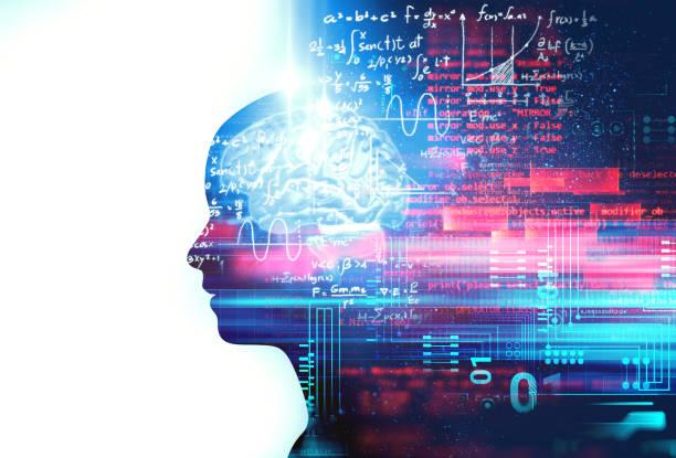 Silhouette des virtuellen menschlichen und Programmier-Technologie – Foto