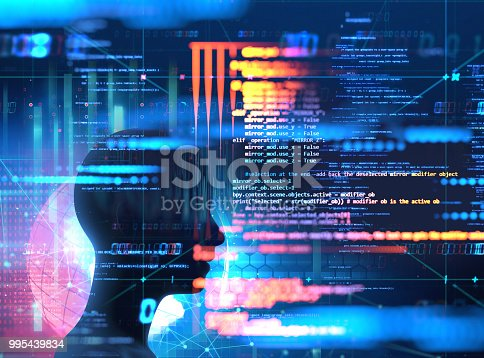 istock silhouette of virtual human and programming technology 995439834