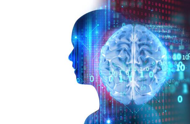 추상적인 기술 3d 그림에 가상 인간의 실루엣 - double exposure 뉴스 사진 이미지