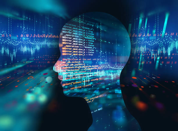 추상 기술 3d 그림에 가상 인간의 실루엣 - double exposure 뉴스 사진 이미지