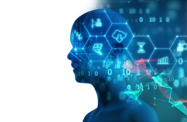 抽象的な技術 3 d イラストを仮想人間のシルエット ストックフォト