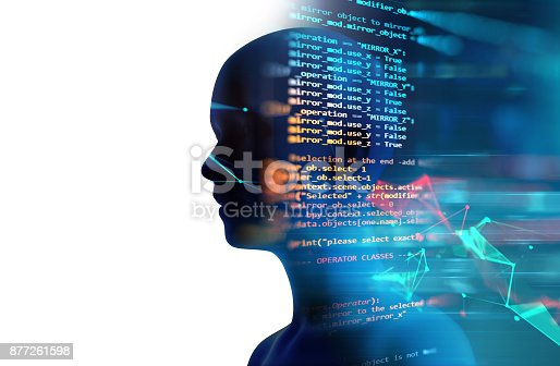 istock silhouette of virtual human on abstract technology 3d illustration 877261598
