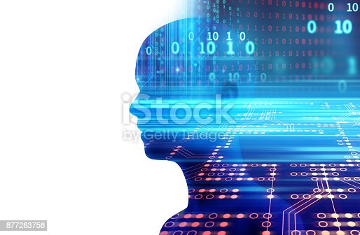 istock silhouette of virtual human on abstract technology 3d illustration 877263758