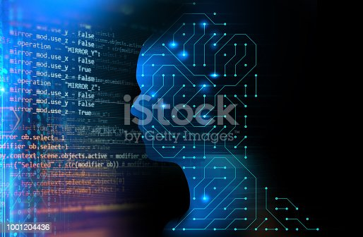 932559358 istock photo silhouette of virtual human on circuit pattern technology 3d illustration 1001204436