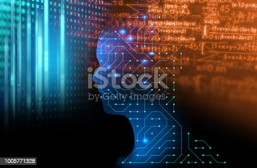 932559358 istock photo silhouette of virtual human on circuit pattern technology 3d illustration 1005771328