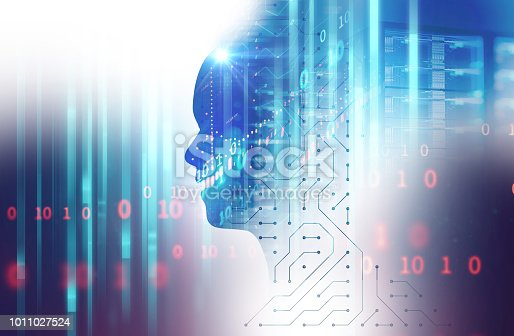 932559358 istock photo silhouette of virtual human on circuit pattern technology 3d illustration 1011027524