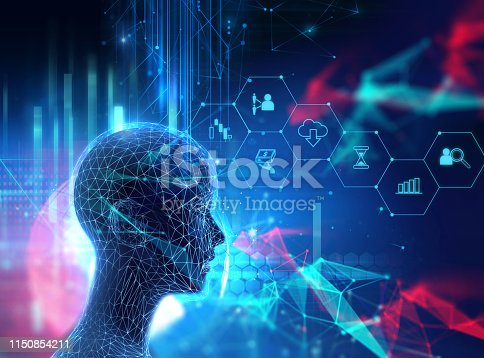 932559358 istock photo silhouette of virtual human on circuit pattern technology 3d illustration 1150854211