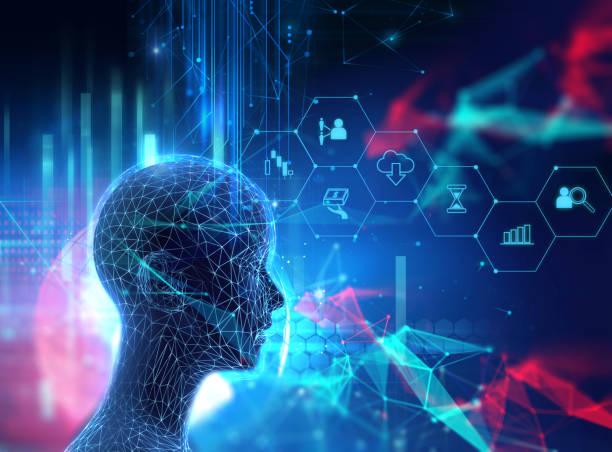 silhouette of virtual human on circuit pattern technology 3d illustration stock photo