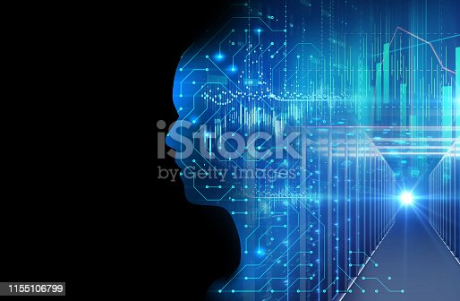 932559358 istock photo silhouette of virtual human on circuit pattern technology 3d illustration 1155106799