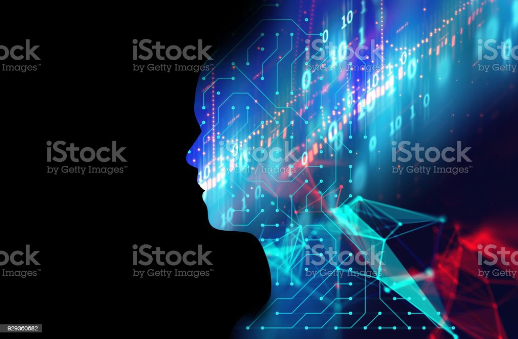 silhouette of virtual human on circuit pattern technology 3d illustration - foto stock