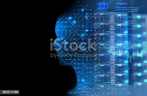 932559358 istock photo silhouette of virtual human on circuit pattern technology 3d illustration 932074180