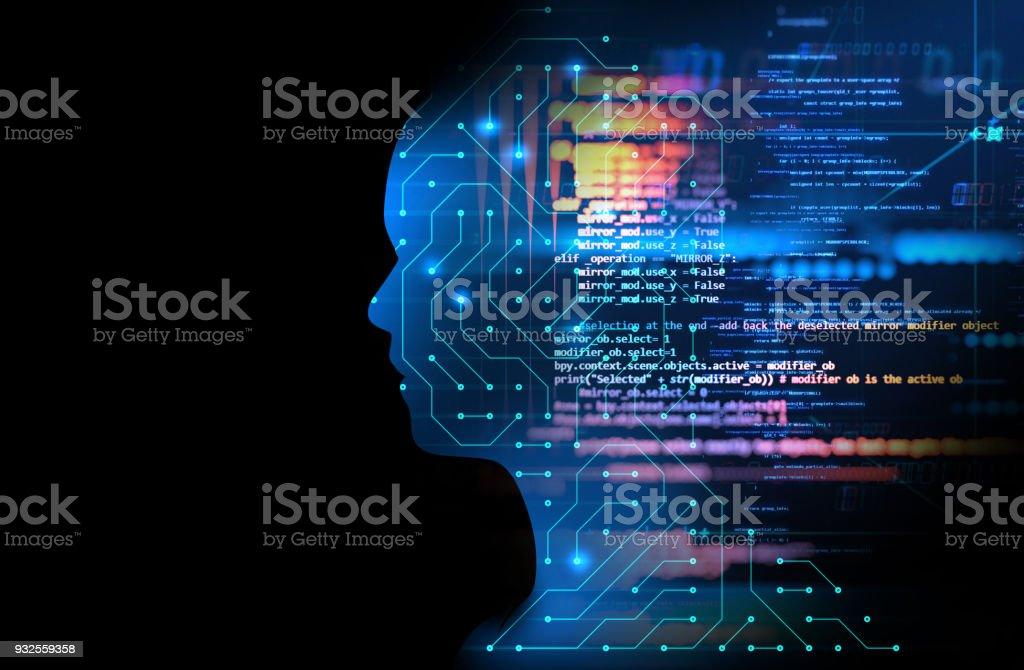 silhouette d'homme virtuel sur illustration 3d de circuit modèle technologie photo libre de droits