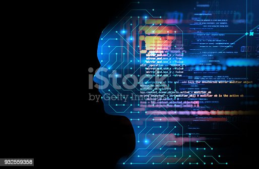 932559358 istock photo silhouette of virtual human on circuit pattern technology 3d illustration 932559358