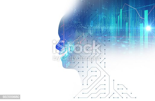 932559358 istock photo silhouette of virtual human on circuit pattern technology 3d illustration 932559680