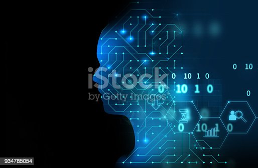 932559358 istock photo silhouette of virtual human on circuit pattern technology 3d illustration 934785054