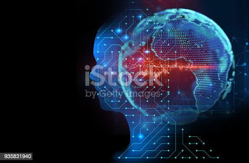 932559358 istock photo silhouette of virtual human on circuit pattern technology 3d illustration 935831940
