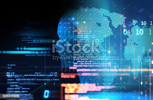 932559358 istock photo silhouette of virtual human on circuit pattern technology 3d illustration 938348936