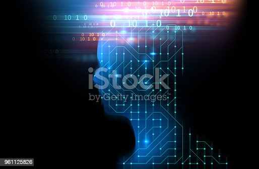 932559358 istock photo silhouette of virtual human on circuit pattern technology 3d illustration 961125826