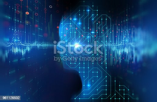932559358 istock photo silhouette of virtual human on circuit pattern technology 3d illustration 961126532