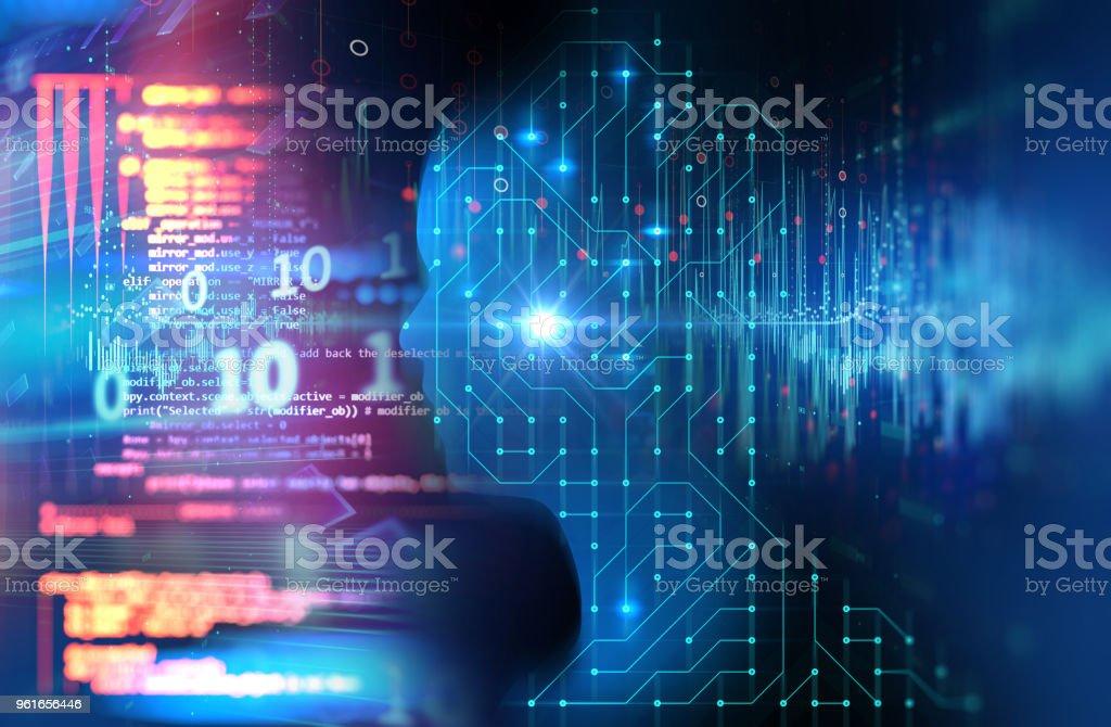 silhouette of virtual human on circuit pattern technology 3d illustration - foto stock