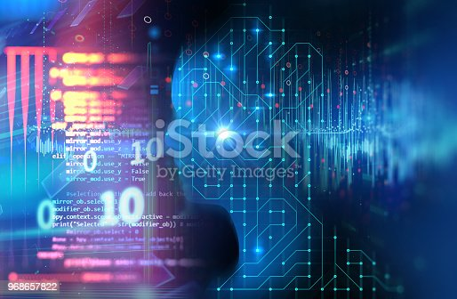 932559358 istock photo silhouette of virtual human on circuit pattern technology 3d illustration 968657822