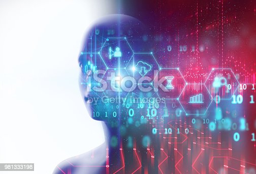 932559358 istock photo silhouette of virtual human on circuit pattern technology 3d illustration 981333198