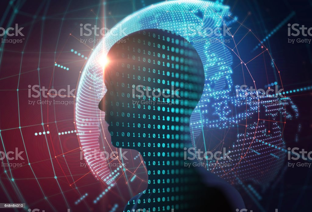 silhouette of virtual human on digital world map 3dillustration stock photo
