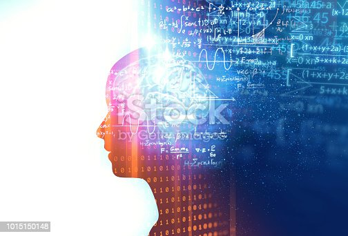 istock silhouette of virtual human on handwritten equations 3d illustration 1015150148