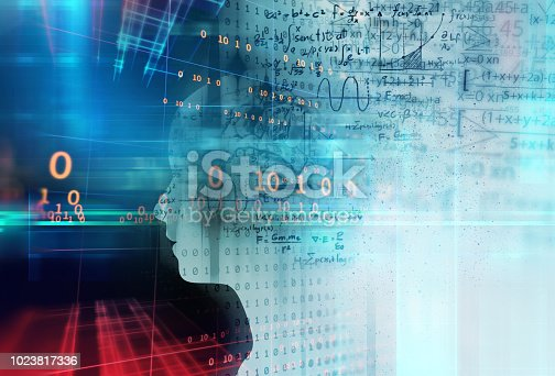 istock silhouette of virtual human on handwritten equations 3d illustration 1023817336