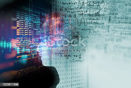 istock silhouette of virtual human on handwritten equations 3d illustration 1023817398