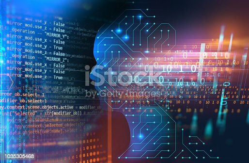 istock silhouette of virtual human on handwritten equations 3d illustration 1035305468