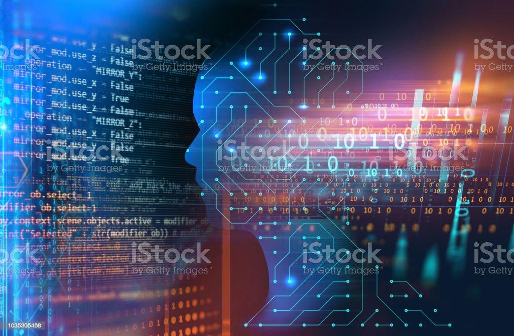 silhouette of virtual human on handwritten equations 3d illustration stock photo