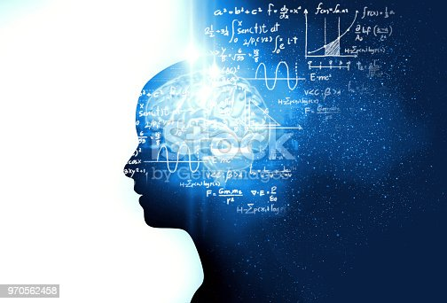 istock silhouette of virtual human on handwritten equations 3d illustration 970562458