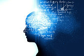 silhouette of virtual human on handwritten equations 3d illustration  , represent artificial \ntechnology and creativity education.