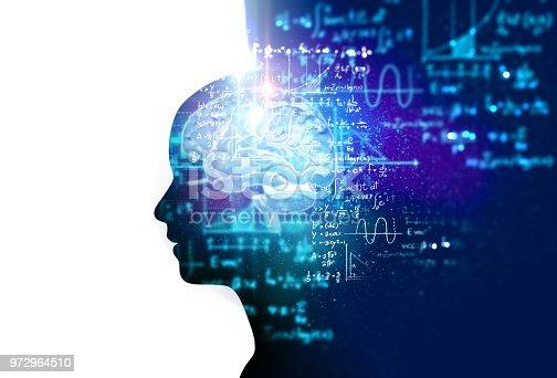 istock silhouette of virtual human on handwritten equations 3d illustration 972964510