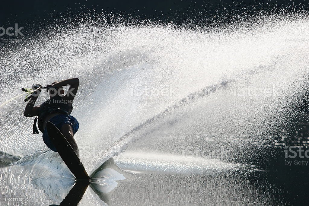 Silhouette of Water Skiier royalty-free stock photo