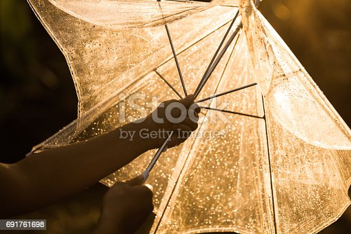 691761646istockphoto Silhouette of woman hand opening an umbrella in the rain 691761698