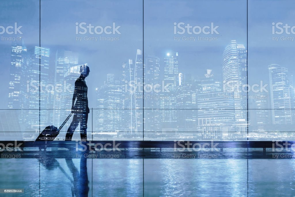 silhouette of woman in airport, travel concept stock photo
