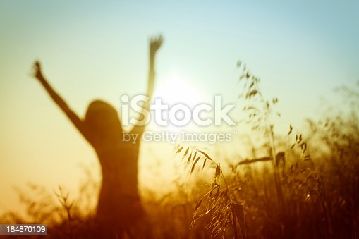 A young woman can be seen in the background of the image happily extending her arms above her head.  The young woman is standing in a wheat field and is very happy.  In the foreground of the image, few wheat plants can be seen.  A wheat field is visible around the young woman in the background too.  It is daytime in the image and the sun can be seen in the center of the image.  The sky is blue near the top and orange towards the bottom.  There are no visible clouds in the sky.