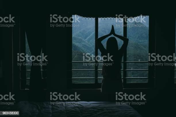 Silueta De Mujer Mirando El Paisaje Desde La Ventana Del Hotel En Vietnam Foto de stock y más banco de imágenes de 20 a 29 años